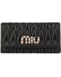 Miu Miu - Crystal-embellished Matelassé Leather Continental Wallet - Lyst