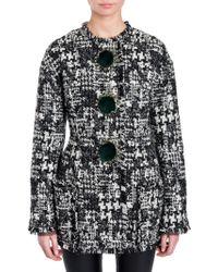 Dolce & Gabbana - Faux-fur Trimmed Tweed Jacket - Lyst