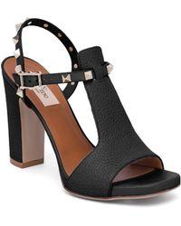 Valentino - Rockstud Cutout Leather Block-heel Slingbacks - Lyst