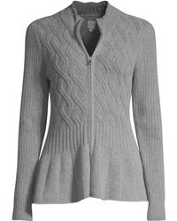 La Vie Rebecca Taylor - Women's Peplum Cabled Cardigan - Heather Grey - Size Xs - Lyst