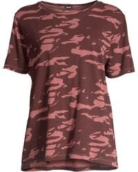 Monrow - Women s Two-tone Cotton Camo Tee - Dusty Maroon Red - Size Large ee59f3cb9b