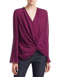 Cinq À Sept - Monica Silk Side Knot Blouse - Lyst