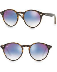 09e24fab48 Ray-Ban Blaze Mirrored Clubmaster Sunglasses in Pink - Lyst