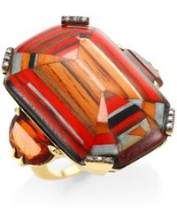 Silvia Furmanovich - 18k Yellow Gold, Brown Diamonds And Rio Grandese Citrine Marquetry Ring - Red - Lyst