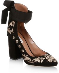 Tabitha Simmons - Isabel Embroidered Suede Ankle-wrap Pumps - Lyst