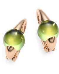Pomellato - Peridot & 18k Rose Gold Cabochon Earrings - Lyst