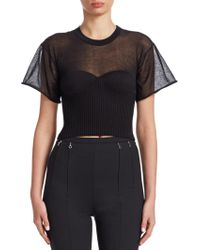 Alexander Wang | Cropped Tee With Integral Bra Cups | Lyst