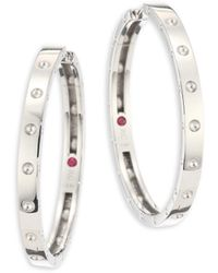 Roberto Coin - Symphony Pois Mois Large 18k White Gold Hoop Earrings/1.25 - Lyst