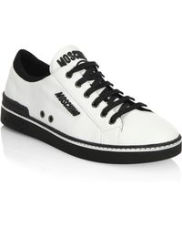 Moschino - Contrast Leather Low-top Sneakers - Lyst