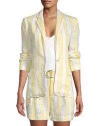 FRAME - Striped Linen Blazer - Lyst