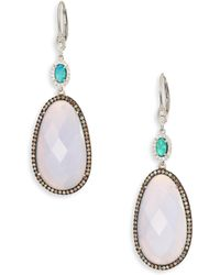 Meira T - Diamond, Opal, Blue Opal, 14k White Gold & Silver Drop Earrings - Lyst