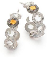 Coomi | Opera Diamond, Crystal, 20k Yellow Gold & Sterling Silver Hoop Earrings/0.75 | Lyst