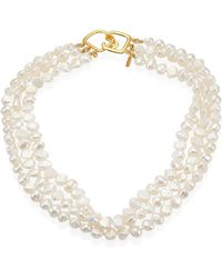 Kenneth Jay Lane - 6mm White Baroque Cultured Freshwater Pearl Multi-strand Necklace - Lyst