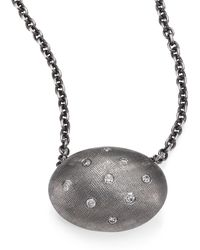 Rene Escobar - Diamond & Sterling Silver Oval Pendant Necklace - Lyst