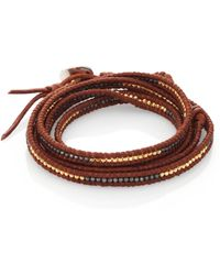 Chan Luu - Two-tone Beaded Leather Multi-row Wrap Bracelet/brown - Lyst