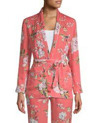 Joie - Anasophia Floral Silk Smoking Jacket - Lyst