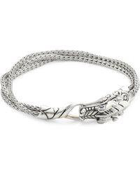 John Hardy - Legends Naga Silver And Blue Sapphire Multi Chain Bracelet - Lyst