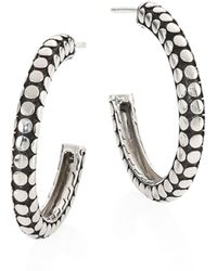 John Hardy - Dot Small Sterling Silver Hoop Earrings/1 - Lyst