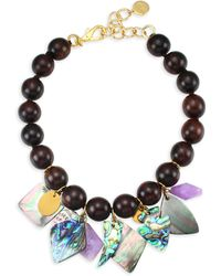 Nest - Mother Of Pearl Wood Bead Charm Necklace - Lyst