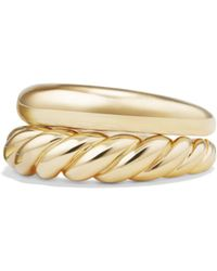 David Yurman - Pure Form 18k Yellow Gold Rings/set Of 2 - Lyst