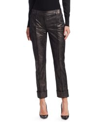 Akris - Maxima Pearlized Leather Trousers - Lyst