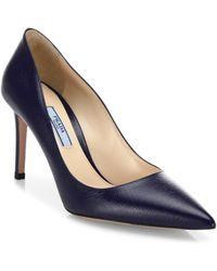 eaa49981911 Lyst - Prada Saffiano Patent Pointy Toe Kitten Heel Pump in Black