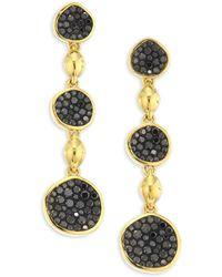 Plevé - Pebble Black Diamond & 18k Yellow Gold Triple Drop Earrings - Lyst