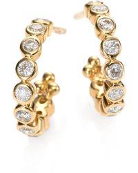 Temple St. Clair - Classic Eternity Diamond & 18k Yellow Gold Hoop Earrings/0.4 - Lyst