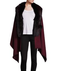 Annabelle New York - Abby Cashmere, Wool & Fox Fur Cape - Lyst