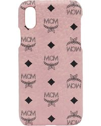 MCM - Stamped Logo Leather Iphone X Case - Lyst