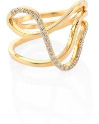 Paige Novick - Infinity Diamond & 18k Yellow Gold Curved Three-row Ring - Lyst