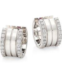 Roberto Coin - Portofino Diamond & 18k White Gold Hoop Earrings - Lyst