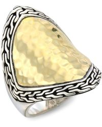 John Hardy - Classic Chain Two-tone Hammered Saddle Ring - Lyst