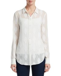 Theory - Embroidered Button-front Shirt - Lyst