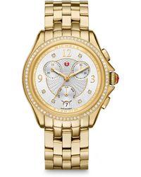 Michele Watches - Belmore Chronograph Diamond & Goldtone Stainless Steel Bracelet Watch - Lyst