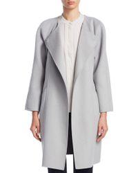 Emporio Armani - Roundneck Wool Blend Coat - Lyst