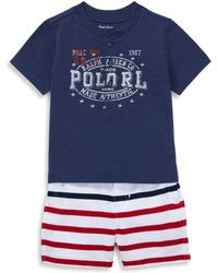 Ralph Lauren - Baby's Two-piece Logo Tee And Striped Shorts Set - Lyst