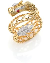 John Hardy - Legends Naga 18k Gold, African Ruby & Pave Diamond Dragon Coil Ring - Lyst