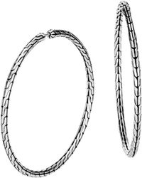John Hardy - Classic Chain Silver Large Hoop Earrings - Lyst