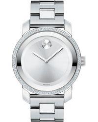 Movado - Bold Diamond & Stainless Steel Bracelet Watch - Lyst