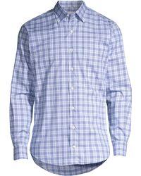 Peter Millar Ease Crown Button-down Plaid Shirt - Blue
