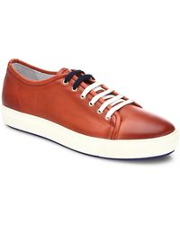 Saks Fifth Avenue - Dual Lace Up Leather Sneakers - Lyst