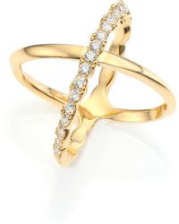 Hearts On Fire - Lorelei Diamond & 18k Yellow Gold Crisscross Ring - Lyst