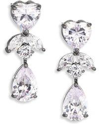 Fallon - Monarch Crystal Heart Double-drop Earrings - Lyst