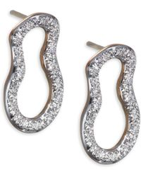 Monica Vinader - Diamond & 18k Gold Riva Pod Stud Earrings - Lyst