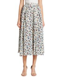 Adam Lippes - Floral Crepe Gathered Skirt - Lyst