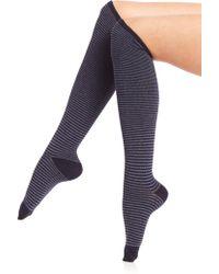 Ilux - Nobo Skinny Stripe Knee-high Socks - Lyst