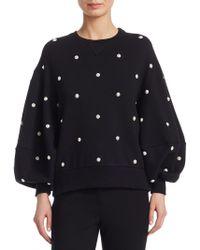 Oscar de la Renta - Faux Pearl Balloon Sleeve Sweatershirt - Lyst