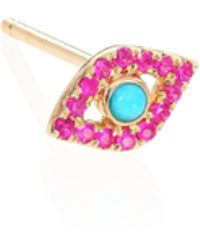 Sydney Evan - Ruby, Turquoise & 14k Yellow Gold Small Evil Eye Single Stud Earring - Lyst