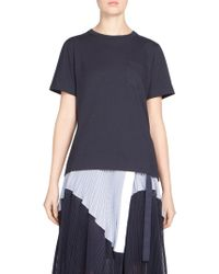 Sacai - Striped Cotton Tee - Lyst